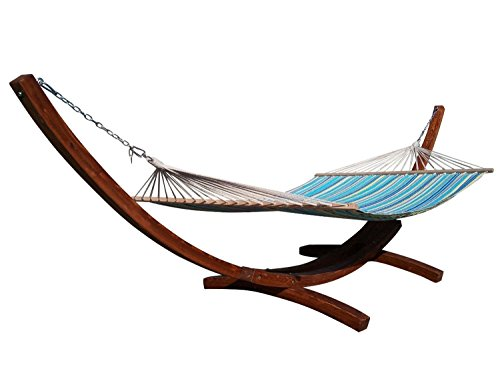 Petra Leisure 14 Ft. Teak Wooden Arc Hammock Stand + Quilted Teal/Yellow Color, Double Padded Hammock Bed. 2 Person Bed. 450 LB Capacity.