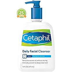 Cetaphil Daily Facial Cleanser for Normal to Oily Skin, Gentle Face Wash for Sensitive Skin, 16 oz. Bottle
