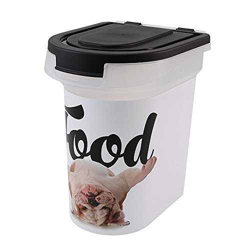 Paw Prints 15 Pound Pet Airtight Food Storage Container, Carlos the Bulldog Design, Includes Snap-In 1 Cup Measured Scoop, 13.25 x 12.5 x 10.1 inches, 37716 1