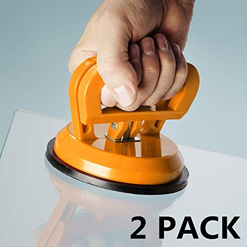 2 PACK Vacuum Suction Cup Glass Lifter 5' Car Dent Puller, Vacuum Lifter for Glass/Tiles/Mirror/Granite Lifting, Dent Remover Gripper Sucker Plate, Double Handle Locking