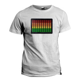 Sound Activated Luminescent LED T-Shirt with Detachable Panel