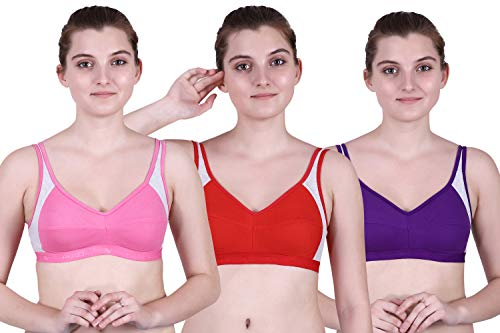 waooo Sports Non Padded Wire Free Bra/Yoga Stretch Workout Seamless Cotton Bra for Girls/Women