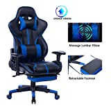 Blue Whale Gaming Chair with Adjustable Massage Lumbar Pillow,Retractable Footrest and Headrest -Racing Ergonomic High-Back PU Leather Office Computer Executive Desk Chair 8239Blue