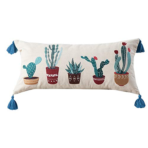 Embroidered Cacti Linen Pillow