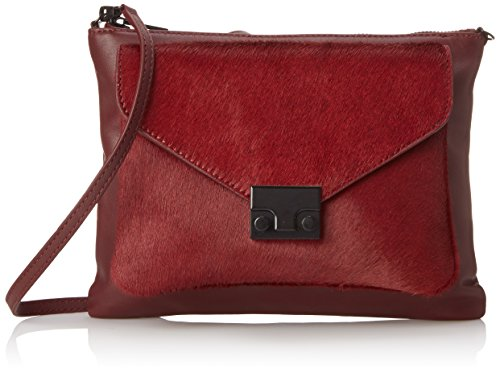 413eVtl50AL Two-in-one handbag featuring front haircalf envelope pouch that snaps off Removable cross-body strap