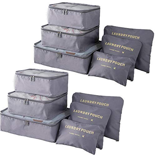 Packing Cubes (2 Sets /12 Pieces) Luggage Organizers/ Laundry Bags| JuneBugz Travel Accessory for Suitcases, Carry-on,Back Packs,Organize Toiletries/Clothing/Medicine/ Shoes/Passport/Docs-Grey