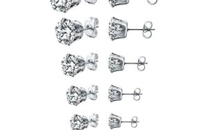 Long Way Stainless Steel Stud Earrings set Cubic Zirconia Inlaid,3mm-8mm 6Paris