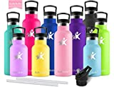 KollyKolla Vacuum Insulated Water Bottle Metal Water Bottles with Straw & Filter Hot & Cold Drinks Bottle Stainless Steel Thermoflask Leakproof Kids Sports Bottle(750ml Pink)