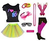 Girls I Love The 80's Disco T-Shirt for 1980s Theme Party Outfit (Rainbow01, 8-10 Years)