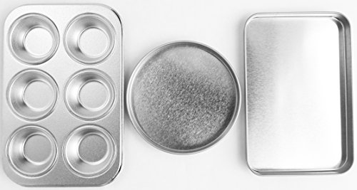 Quadrapoint Easy Bake Oven Cake Pan Set Includes Cupcake Pan Rectangular Pan and Round Pan