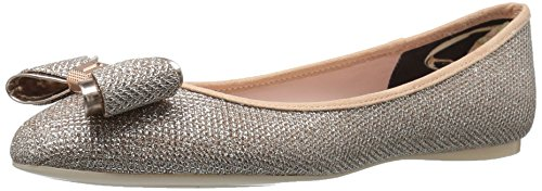414%2BVKW432L Ballerina in soft tumble PU or metallic sheep PU with bow detail at the toe and T branded faceted metal bow center Branded metal heel cap and toe tip and a soft printed textile lining with a mini metal bow at the back