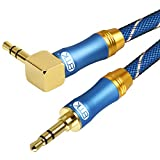 90 Degree Right Angle Aux Cable - [24K Gold-plated,Sound Quality]EMK Audio Stereo Male to Male Cable for Laptop, Tablets, MP3 players,Car/Home Aux Stereo, Speaker or More (4Ft/1.2Meters)
