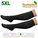 HealthyNees Closed Toe Extra Big Wide Calf Shin Plus Size 20-30 mmHg Compression Grade Leg Length Swelling Circulation Women Men Socks (Black, Extra Wide Calf 5XL)