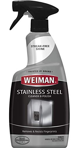 Weiman Stainless Steel Cleaner and Polish - Streak-Free Shine for Refrigerators, Dishwasher, Sinks, Range Hoods and BBQ grills - 22 fl. oz.