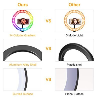 10-Ring-Light-with-Stand-Fauna-14-Colors-RGB-LED-Ring-Light-with-Tripod-Stand-and-Phone-Holder-10-Brightness-Level-Camera-Remote-Shutter-for-MakeupYouTubeVideoPhotography