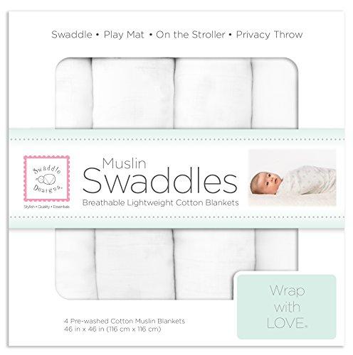 SwaddleDesigns Cotton Muslin Swaddle Blankets, Set of 4, Pure White (Parents' Picks Award Winner)