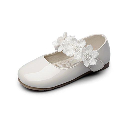 Chiximaxu Maxu Kid Girl's Offwhite Marry Jane Flat Shoes Strap Flower,Little Kid,11M
