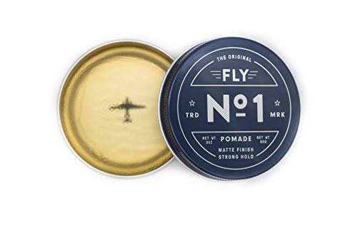 FLY POMADE NO. 1 Strong Hold Hair Styling Product for Men & Women, Matte or Shiny Finish, Water Soluble, All Hair Types, All Day Hold, Defining,Texturizing & Thickening, Barber Approved - 3 Ounce Tin