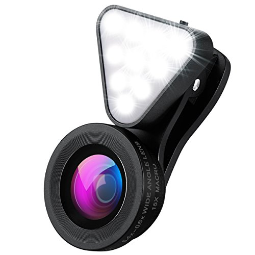 AMIR Phone Camera Lens, Rechargeable Selfie Ring Light, 15X Macro Lens & Wide Angle Lens, 3 Adjustable Brightness Fill Light for iPhone X, On-Camera Video Light for iPhone 7 Plus, Samsung, etc