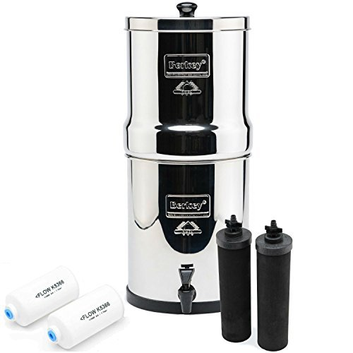 Berkey BK4X2-BB Big Berkey Drinking Water Filtration System with 4 Filters - 2 Black Filters and 2 Fluoride Filters 2.25 Gallon