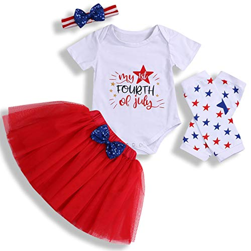 4th of July Baby Outfit Newborn Baby Girl Skirt Set Infant Romper Bodysuit+Short Dress+Headband Clothes Set