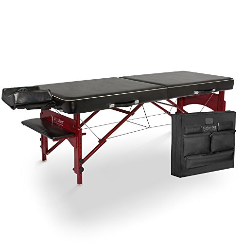 Master Massage Sereno Memory Foam Portable Massage Table Black Upholstery with Mahogany Legs, 29 inch