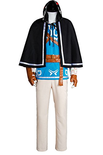 Ya-cos The Legend of Zelda Breath of the Wild Link Cosplay Uniform Suit Costume Outfit Blue Full Set