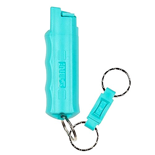 SABRE Red Kuros! Pepper Spray—Police Strength—Aqua Key Case with Quick Release Key Ring, 25 Bursts & 10-Foot (3 m) Range