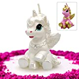 GET FRESH Unicorn Candle for Birthday and Wedding - Premium Quality Unicorn Candle Cake Topper in Gift Box - Elegant Unicorn Cake Decoration Candle for Any Occasion - White Unicorn Birthday Candle