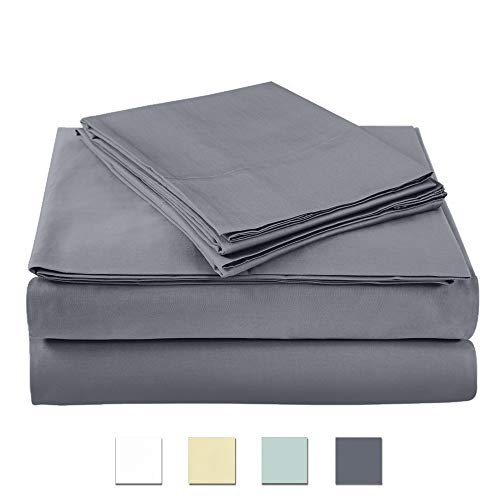 400 Thread Count 100% cotton Sheet Set, Charcoal King Sheet Set, 4-piece Long Staple Combed Pure Cotton best sheets for bed, Breathable, Soft & Silky Sateen Weave Fits Mattress upto 18' deep pocket