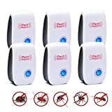 Ultrasonic Electronic Repellent, 2019 Upgraded Pest Reject - Environment-Friendly, Plug in Indoor Usage Pest Control Repeller to Insects Mice, Ants, Mosquitoes, Spiders, Rodents and Roach (6 Pack)