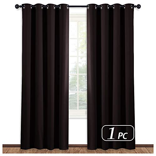 NICETOWN Blackout Room Darkening Curtain - (Toffee Brown Color) Window Treatment Panel for Home Theater, Noise Rducing Shade/Drapery, 52 Inch Wide by 95 Inch Long, One Piece