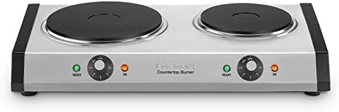 Cuisinart Cast-Iron Double Burner, 11.5″(L) x 19.5″(W) x 2.5″(H), Silver