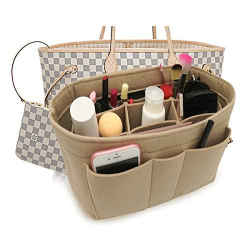 LEXSION Felt Insert Fabric Purse Organizer Bag, Bag Insert in Bag with Zipper Inner Pocket Beige M