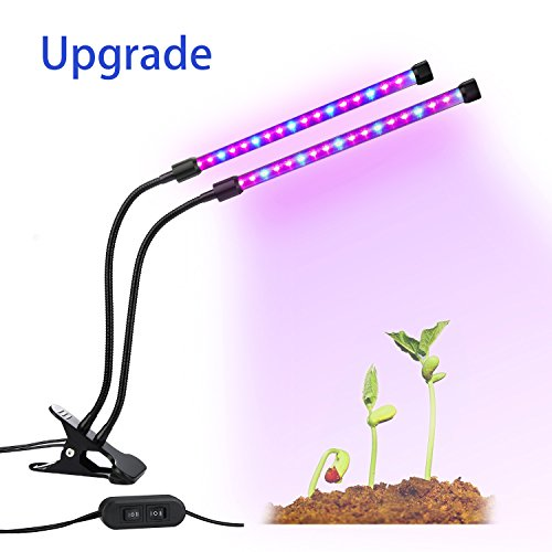Lovebay Dual Head LED Plant Grow Light 2 Dimmable Levels Grow Lamp Bulbs with Adjustable 360 Degree Gooseneck for Indoor Plants Hydroponics Greenhouse Garden Home Office[2017 Upgraded]