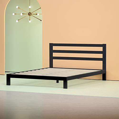 Zinus Arnav Modern Studio 10 Inch Platform 2000H Metal Bed Frame / Mattress Foundation / Wooden Slat Support / With Headboard, Queen