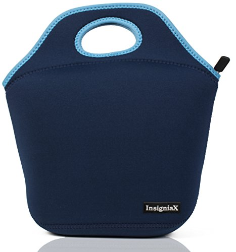 InsigniaX Neoprene Lunch Bag Cool Lunch Box/Cooler/Lunchbox for Adult Women Men Work School Girls Boys SizeH: 11.8' x W: 6.1' x L: 11.5' (Large, Navy Blue)