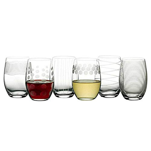 Mikasa Cheers Stemless Etched Wine Glasses, Fine European Lead-Free Crystal, 17-Ounces for Red or White Wine - Set of 6