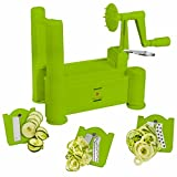 Brieftons Tri-Blade Spiralizer: Strongest-and-Heaviest Duty Vegetable Spiral Slicer, Best Veggie Pasta Spaghetti Maker for Low Carb/Paleo/Gluten-Free Meals, With 3 Exclusive Recipe eBooks - Green