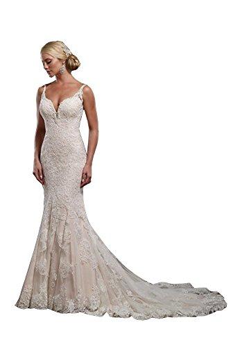 414Qw6HaGKL Fabric:Lace+Tulle Detail:Spaghetti;Zipper,Open Back;Chapel Train,Fishtail Embellishment:Lace Applique,Tired Ruffles;Full Lined,Built in bra