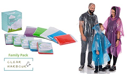 Clear Harbour Emergency Disposable Poncho Family Pack   Thick Reusable .03mm PE Plastic Rain Ponchos for Women, Men, and Children   Rain Poncho Family Pack for Disney