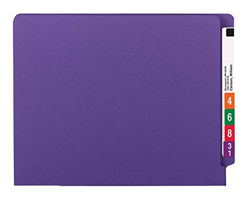 Smead WaterShed/CutLess End Tab Fastener File Folder, Reinforced Straight-Cut Tab, 2 Fasteners, Letter Size, Purple, 50 per Box (25550) deal 50% off 414S0FFgMKL
