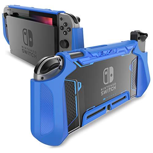 Dockable Case for Nintendo Switch - Mumba TPU Grip Protective Cover Case Compatible with Nintendo Switch Console and Joy-Con Controller (Blue)