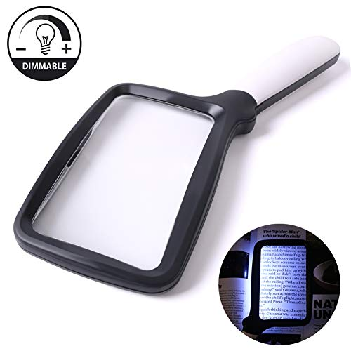 Large Hand Magnifying Glass Handheld Folding Reading Magnifier 3X Magnification with 5 Dimmable LEDs Ideal for Reading Small Prints, Book, Low Vision, Read Easily at Night