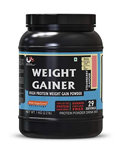 Advance MuscleMass 29 Servings Weight Gainer High Protein Supplement Powder (Strawberry, 1 Kg / 2. 2 Lb)