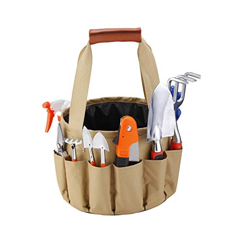 10PCS Mixed General Garden Tool Kit, Waterproof Tool Bucket, Garden Tool Bag, Portable DIY Tool Set, with Waterproof Bag, Gardening Gloves/Digging Claw Tools/Planting Tools