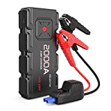 ISELECTOR 2000A Peak QDSP Car Jump Starter, 18000mAh 12V Portable Jump Starter Battery Pack Car Boaster with Safe Smart Clamp Cables, Supports 8.0L Gas and 6.5L Diesel