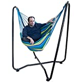 Lazy Daze Hammocks Hanging Swing Chair with Space Saving Steel Stand for Patio Garden Outdoor Indoor, 330 Pounds Capacity, Blue&Yellow