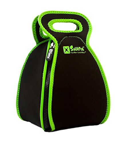 Smart Neoprene Lunch Box that Converts to a Placemat - For Kids School or Office, Machine Washable, Lightweight and Insulated! LARGE Black/Green