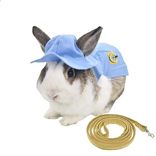 FLAdorepet 3PCS Bunny Rabbit Guinea Pig Harness Dress and Leash Set with Hat Summer Small Milk Mini Dog Cat Clothes for Teacup Small Animal Accessories 1